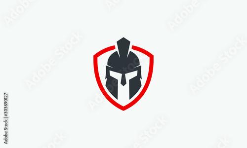 Fotografia shield and helmet of the Spartan warrior symbol, emblem