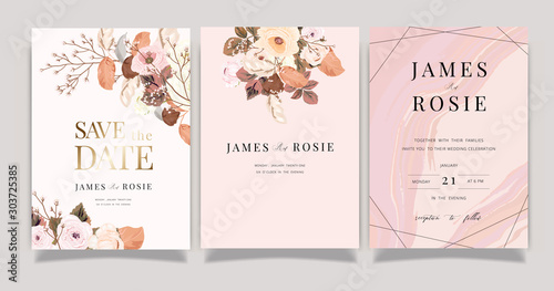 Autumn and winter Flower Wedding Invitation set, floral invite thank you, rsvp modern card Design in pink brown floral with leaf greenery branches decorative Vector elegant rustic template