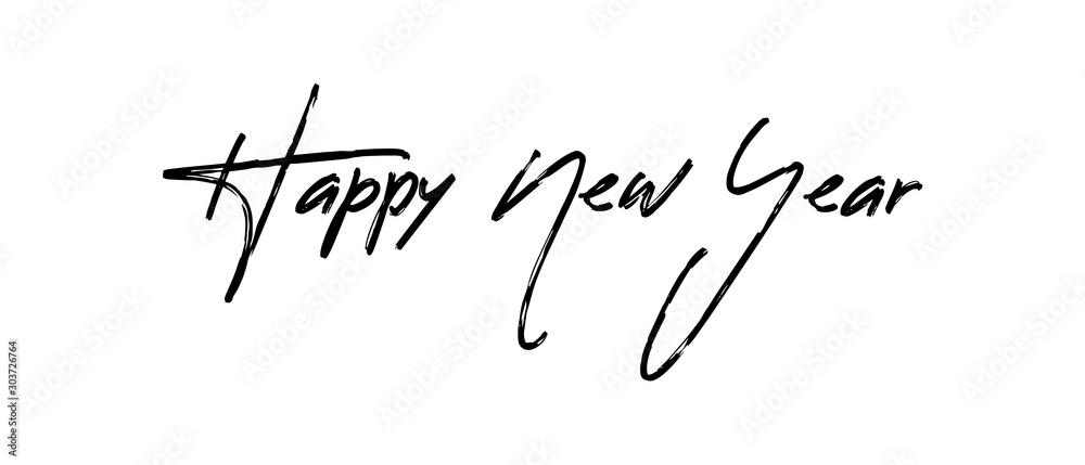 Szczęśliwego nowego roku tekst kaligrafii dla karty z pozdrowieniami. Projekt wakacje wektor <span>plik: #303726764   autor: Matias</span>