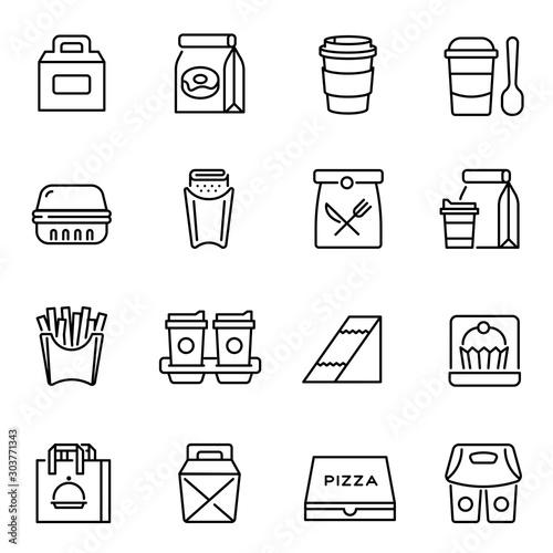 Fototapeta Take away food and drinks linear icons set