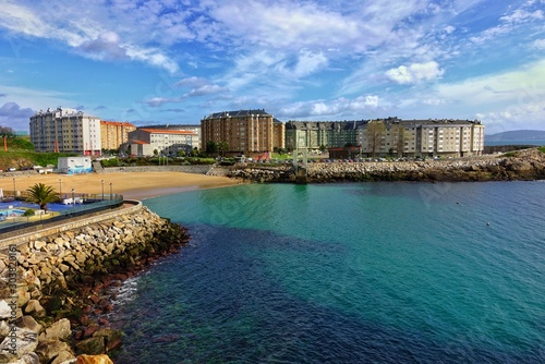Coastline with cloudy sky in the sunny day in Corunna, Spain
