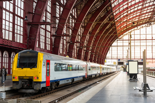 Train on railway station, travel in Europe