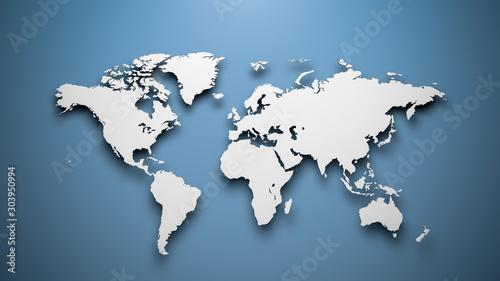 Mapa świata na niebieskim tle