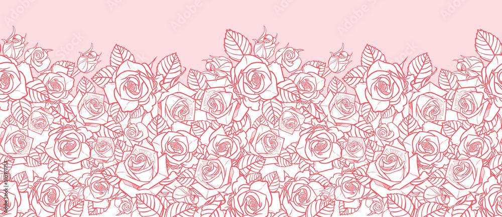 Wektor różowe róże monochromatyczne i liście konturów Krawędź pozioma. Idealny do kart okolicznościowych i zaproszeniowych. <span>plik: #303971753   autor: Jamie Soon</span>