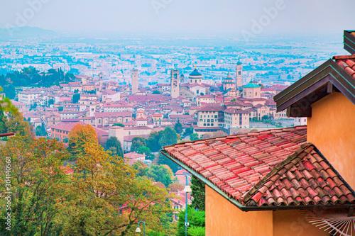 Canvas Print Bergamo old town aerial panorama, Citta Alta. Lombardia, Italy.