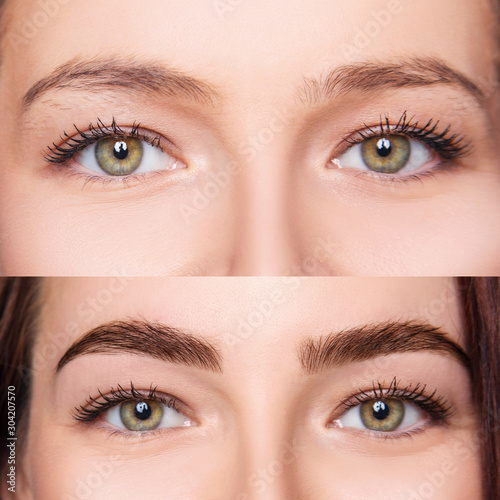 Fotografija Female eyes before and after eyebrows correction and dying.