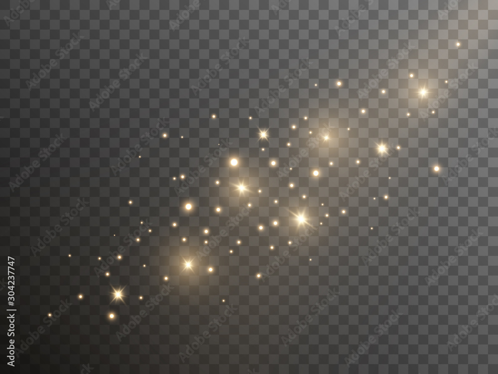 Błyszczący złoty pył na przezroczystym tle. Szablon magiczne światła Bożego Narodzenia. Streszczenie złote iskry. Luksusowe musujące gwiazdki z żółtym pyłem. Ilustracji wektorowych <span>plik: #304237747 | autor: Vegorus</span>