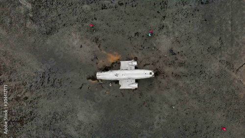 Fotografie, Obraz Amazing aerial view from drone of famous Airplane Wreckage in Solheimasandur Bla