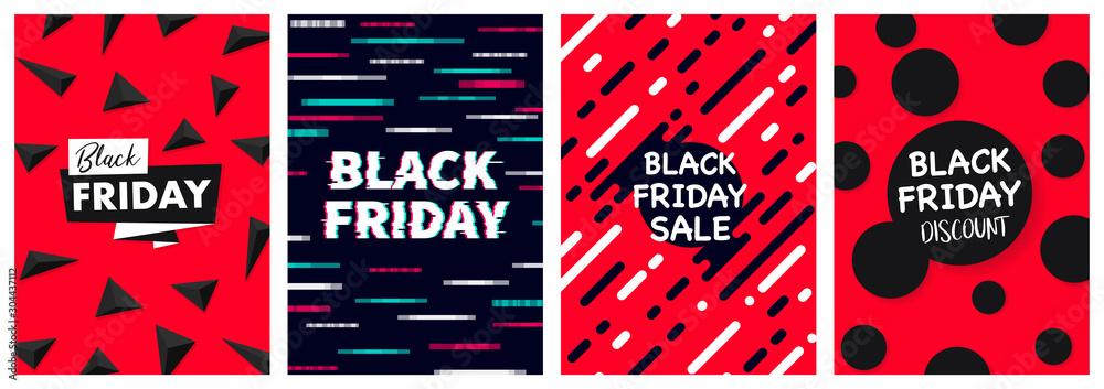 Czarny piątek DL Ulotka transparent plakat szablon ilustracji wektorowych Tło zestaw kart okolicznościowych paczka <span>plik: #304437112   autor: Maxchered</span>