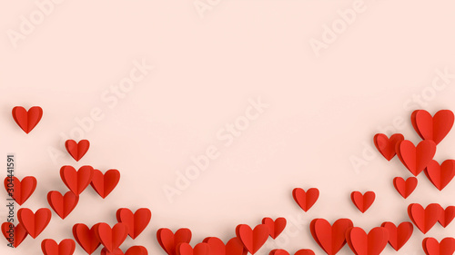 Red hears background, paper cut romantic concept, top view. Beautiful cute hearts on pastel pink table flat lay composition. Valentines Day greeting card concept. Mothers Day anniversary design.