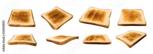 Foto Collection of bread toasts isolated on white background