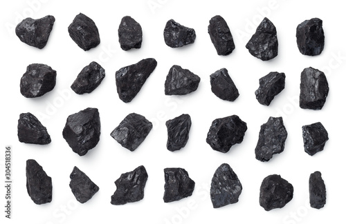 Foto Black Coal Collection Isolated On White Background