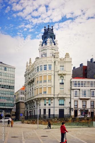 Beautiful architecture on the Avenida Marina. Corunna is famous touristic city and municipality of Galicia, Spain.