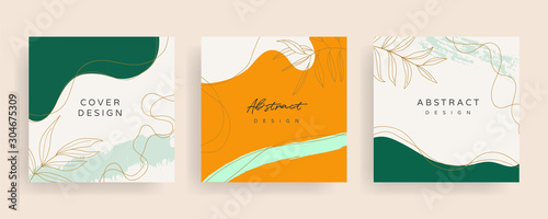 Social media stories and post creative Vector set. Background template with copy space for text and images design by abstract colored shapes, line arts , Tropical leaves warm color of the earth tone