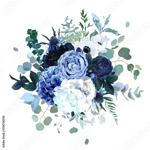 Fotografia, Obraz Royal blue, navy garden rose, white hydrangea flowers, anemone, thistle