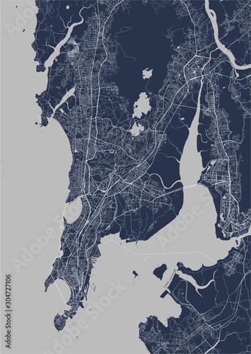 Fotografie, Obraz map of the city of Mumbai, Indian state of Maharashtra