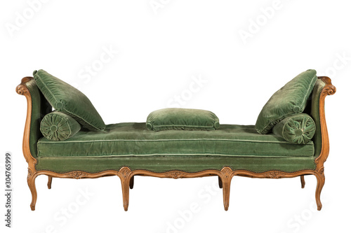 Wooden sofa with green upholstery isolated on white Fototapeta