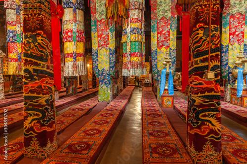 Photo Interior of the main hall in Drepung Monastery near Lhasa, Tibet