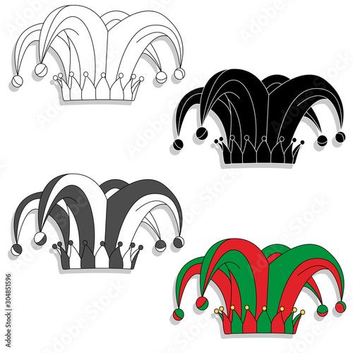 Fototapeta Jester hat vector image solated on white background...