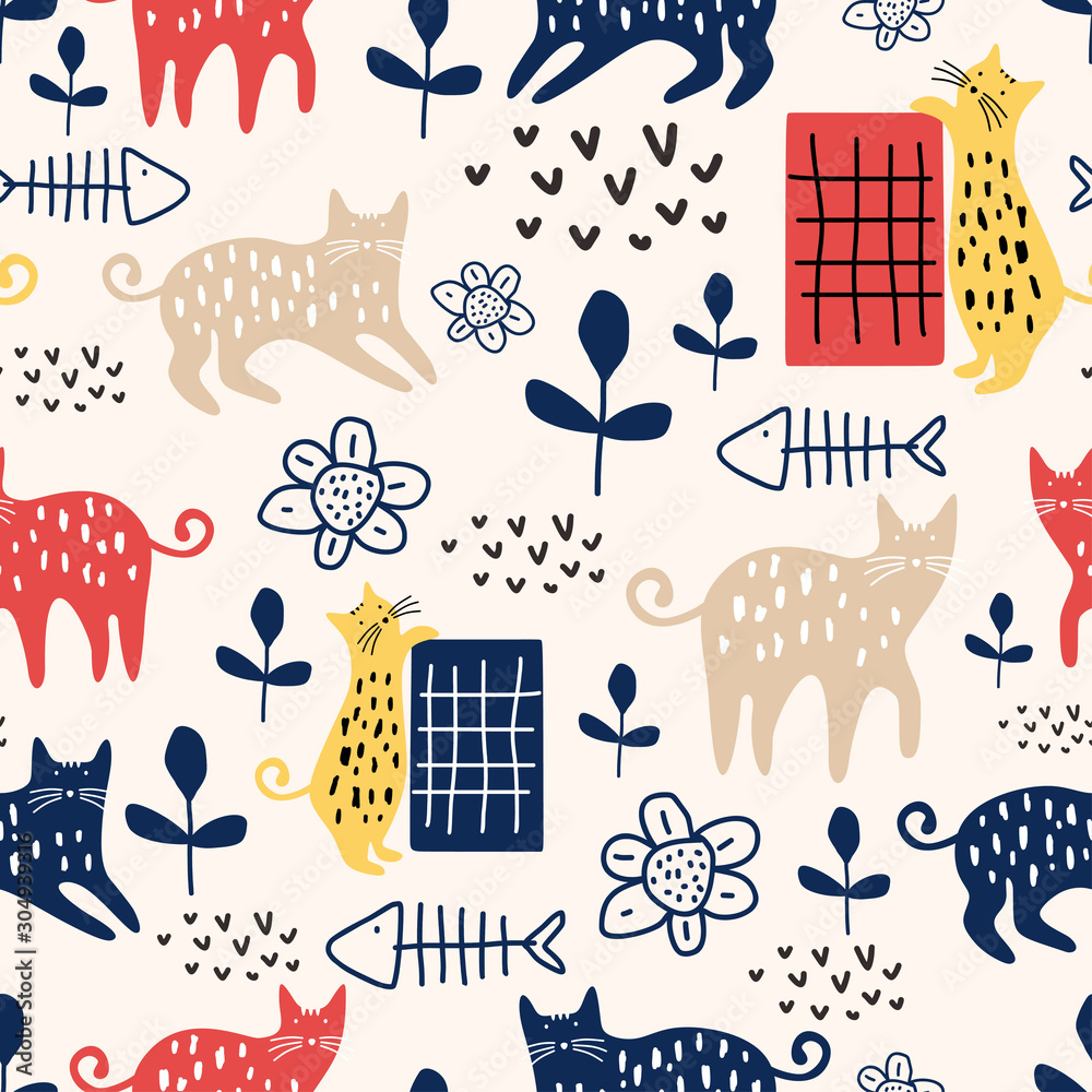 Trendy cute cat seamless pattern with animal and flowers plant nursery. Vector illustration hand drawn childish drawing scandinavian style for fashion textile print. <span>plik: #304939316   autor: ngupakarti</span>