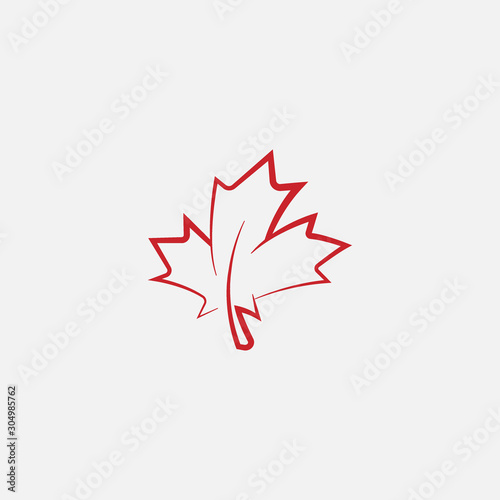 Fotografie, Obraz Maple leaf logo template vector icon illustration, Maple leaf linear vector illu