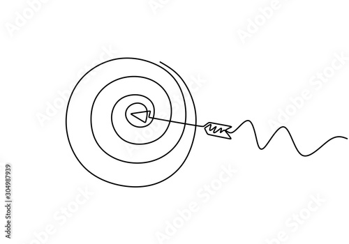 Continuous line drawing of arrow in center of target Fototapete