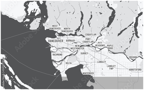 Fototapeta Greater Vancouver map and municipalities