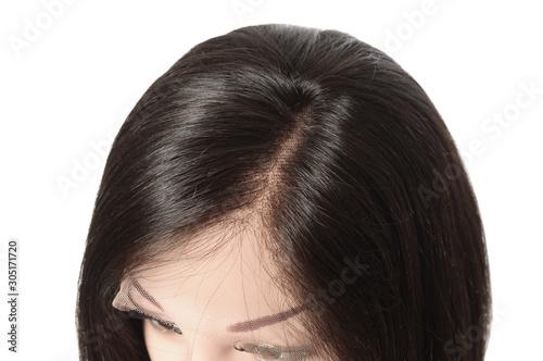 Murais de parede Side part short straight black human hair lace weaves  bob wigs