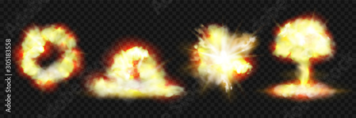 Photo Explosion blasts, nuclear bomb bangs with fire and smog clouds, vector realistic 3d icons isolated on transparent background