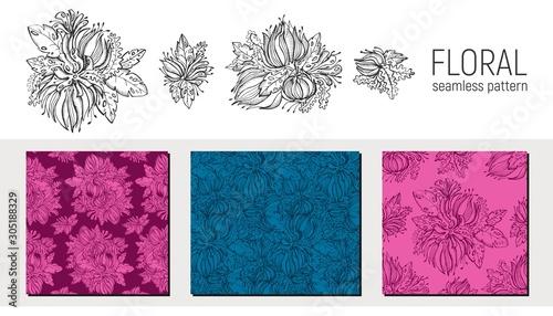Fotografia Set of hand drawn floral seamless pattern
