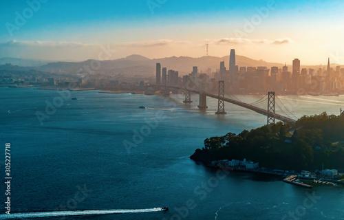 Aerial view of the Bay Bridge in San Francisco, CA