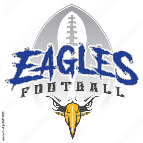 Tablou Canvas Eagles Football With Mascot is an eagles mascot design template that includes team text, a stylized football graphic in the background and an eagles face