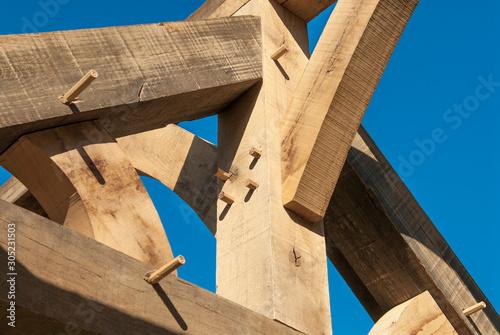 Obraz na plátne détail sur charpente en bois en construction