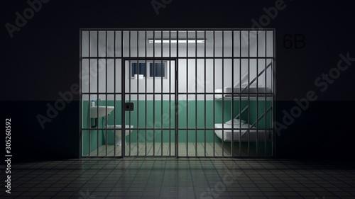 Photo Dark jail prepared to house convicts.