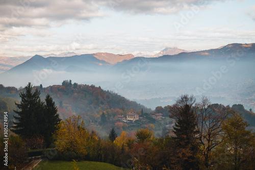 Canvas Print A thick fog enveloped the Upper city of Bergamo.