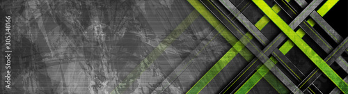 Tech green stripes on abstract grey grunge corporate header banner. Vector geometric background
