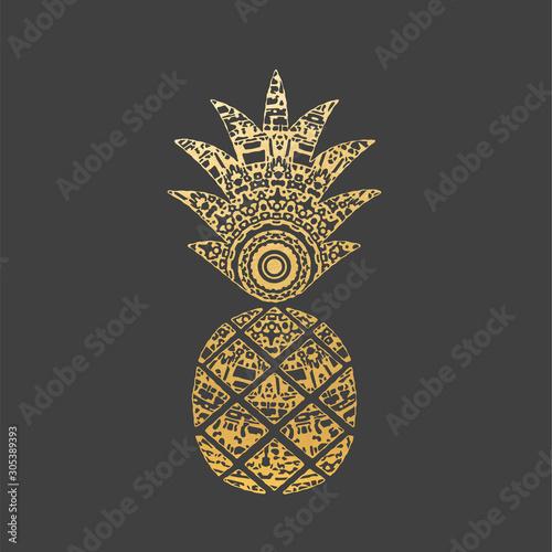 Wallpaper Mural Golden Mandala Pineapple Shape. Ornamental Decoration.