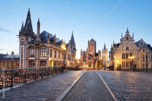 Carta da parati Belgium historic city Ghent at sunset