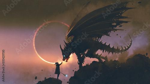 Fototapeta Czarodziej wyciągający rękę do smoka stojącego na skale fantasy do pokoju