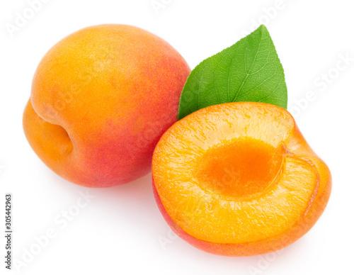 Fototapeta Fresh apricot on white background