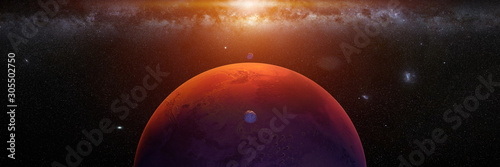 Stampa su Tela planet Mars with monns Phobos and Deimos, sunrise on the red planet
