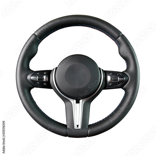 Tablou Canvas Steering wheel isolated on the white background