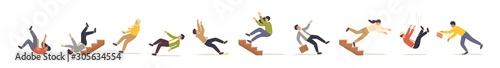 Photo Falling people flat vector illustrations set
