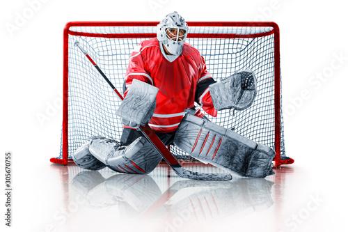 Fotografía Professional ice hockey goalkeeper or goalie or goaltender isolated on white bac