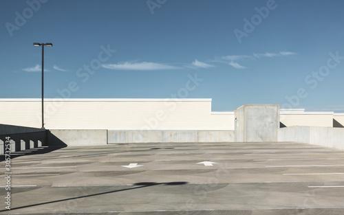 Obraz na plátně Empty rooftop parking lot