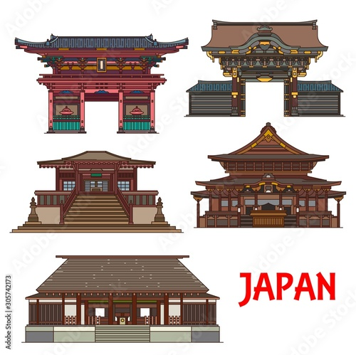 Fototapeta Travel landmarks of Japan vector design with Tokyo religious building icons