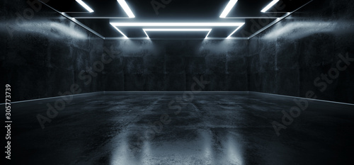 Fotografie, Obraz Empty Grunge Concrete Modern Room Ceiling White Led Lights Rectangle Shape Hall