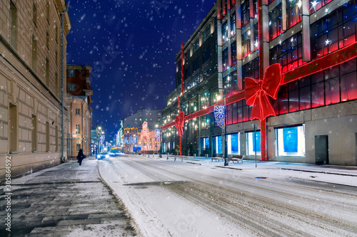 Fotografie, Tablou Christmas in Moscow. Christmas decorated street in Moscow