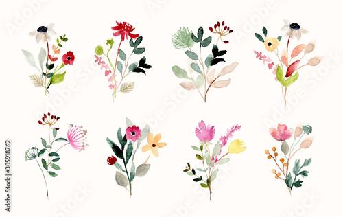 Obraz na plátně beautiful wild flower bouquet watercolor collection
