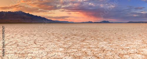 Fotografering Cracked earth in remote Alvord Desert, Oregon, USA at sunset